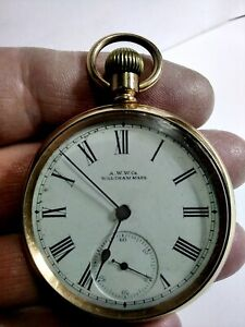 GLORIOUS GOLD PLATED WALTHAM GR A.W.Co, 16s, 7Js, OPEN FACED POCKET WATCH, FWO!.
