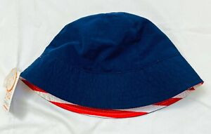 NWT Just One You Carters Baby Boy Sun Hat 12-18 M UPF 50 Navy Blue Chin Strap