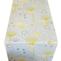 Scandi Style Geometric Floral Print Table Runner. Dove Grey and Yellow. 2 Sizes.