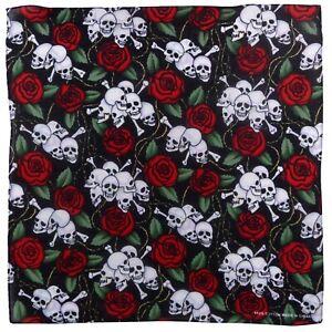 Skulls and Roses Cotton Bandanna Scarf Fancy Dress, Festivals