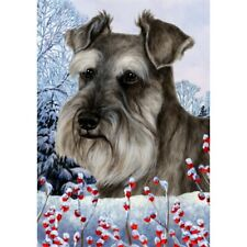 Winter House Flag - Uncropped Grey Schnauzer 15140