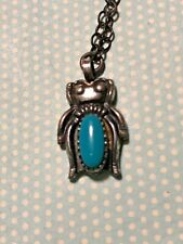 Vintage Sterling Silver & Turquoise Tiny Bell Trading Post Pendant on 18� Chain
