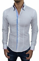 CAMICIA UOMO DIAMOND CLASS BIANCA SLIM FIT ADERENTE IN COTONE CASUAL ELEGANTE