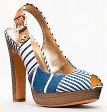 New Coach BERLI Platform Peep Toe Pump Sandal Slingback Heel Shoe ~Navy Blue *8