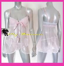 VICTORIAs SECRET $58 Pink Lace Padded Flyaway Babydoll 2Pc Set  36C/ML