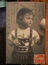 cpa fantaisie garcon enfant pipe chope suisse costume