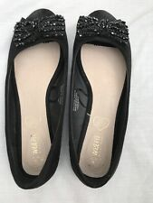 Black Suede Pumps With Beaded Bow. Size 5 New