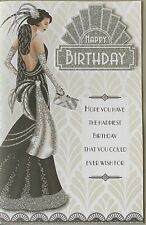 Art Deco open birthday cards With A Full Colour Insert And A Lovely Verse