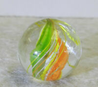 #12767m Bright Colored Vintage German Handmade Swirl Marble .65 Inches