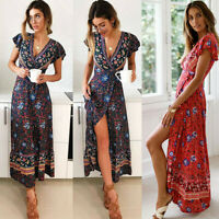 Women Wrap Summer Boho Floral Paisley Maxi Print Dress Ladies Holiday Beach c