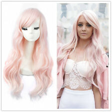 Women Long Gorgeous Pink Curly Hair Girls Charm Cosplay Party Synthetic Full Wig