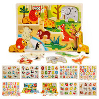Kids Baby Wooden Wood Animal Puzzle Number Alphabet Learning Educational Toy new