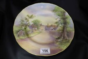 "Royal Worcester large handpainted plate, ""Tewkesbury"" signed D WIlson"