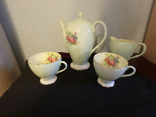 FOLEY ENGLISH FINE BONE CHINA 4 PIECE COFFEE / TEA SET  WITH GREEN AND GOLD TRIM