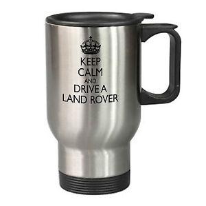 Keep Calm Land Rover Travel Mug Silver Gift Present Birthday Christmas Father