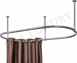 Stainless steel Oval Shower Curtain Rod for Clawfoot Tub Ceiling Mounted 60x30