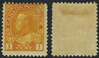 Canada Scott 105: 1c Orange King George V Admiral, wet printing, Die I, F-HR