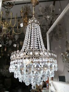 Antique Vnt French Czech Crystal & Casting Brass Chandelier Lamp 1940s 14in ****