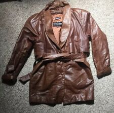 Men's VTG Wilsons Leather Jacket Brown Belted Car Clicker Trench DUSTER