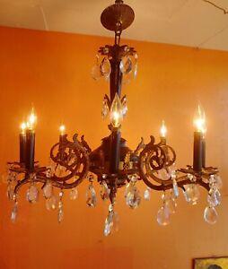 OLD FRENCH EMPIRE BRONZE & BLACK VARNISH CHANDELIER VINTAGE LIGHTINGS 8 Lights