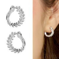 925 Sterling Silver Plain Olive Laurie Branch Leaf Circle Hoop Huggie Earrings