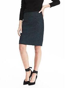 NEW Banana Republic Womens Pieced Flannel Tweed Pencil Skirt Wool Green 4 S $98