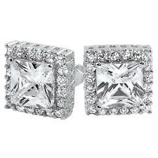 Diamond Sterling Silver Princess Cut Square Stud Earrings