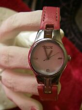 Talbots women's water resistant watch pink leather band new battery very nice
