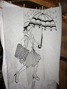 Set of 3 - Lady With Umbrella Black & White Tapestry Wall Panels  Door Hangings