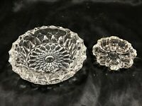 "Pair of Vintage Clear Depression Glass Ashtrays 3-1/4"" and 5-3/4"""
