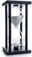 Hourglass 60 Minutes White Sand Timer, Black Wooden Frame Sandglass