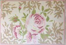 Hamptons Hand Hooked Cotton Floor Rug Mat Shabby Pink English Cottage Rose Chic