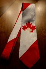 Brand New Polyester Neck Tie With The Canadian Flag On A New Neck Tie!