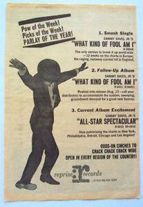 SAMMY DAVIS JR 1962 POSTER  ADVERT WHAT KIND OF FOOL AM I reprise records