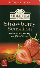 New !  20 Foil Tea bags Ahmad Tea Strawberry Sensation Flavoured  Black Tea