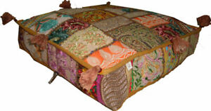 Traditional Vintage Cotton Pouf Cover Embroidered PatchWork Foot Stool Gaddi