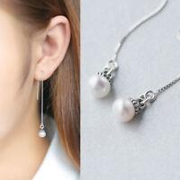 Damen Ohrringe Durchzieher Süßwasser Perlen echt Sterlingsilber 925 Antik Optik
