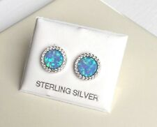 UK Made STERLING SILVER Stud Earrings created Diamonds and Turquoise Blue Opals