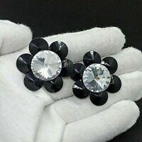 Authentic Vintage Earrings 80s Clip Black Clear Statement Rhinestone Elegant