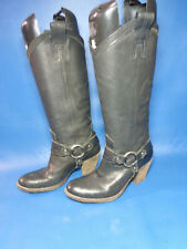 Womens Frye TAYLOR Soft Black Leather Harness Heeled Mid Ankle Boots - Size 6