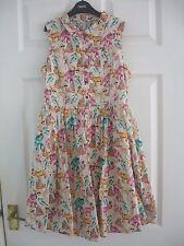 Cream, Pink, Turquoise Animal Print Next Shirt Dress 100% Cotton Size 12 Years