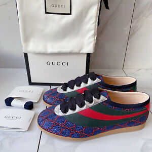 GUCCI Falacer Lurex GG Mens Web Stripe Lace Up BEE Sneakers Blue Red UK 6.5 US 7
