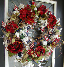 XL Americana Deluxe Floral 4th of July Patriotic Front Door Wreath Decoration