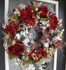 Americana Deluxe Floral 4th of July Patriotic Front Door Wreath Decoration Decor