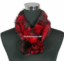 New Stylish 100% Rabbit Fur Women Self-Tied Neck Collar Scarf BOA, Red/Black