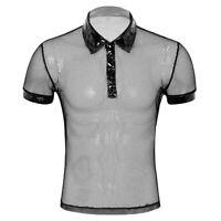 Herren Fischnetz Shirt Hemd Netzshirt Umlegekragen Kurzarm Muskelshirts Clubwear