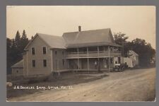 1917 Real Photo Postcard Upton, Maine J.O. Douglas Store with Old Car in View