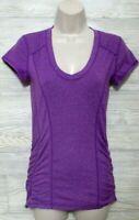 Zella Actiwear Top Size S  Purple Short Sleeved V Neck