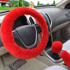 3Pcs/set Winter red soft warm plush car steering wheel cover handbrake cover OQ