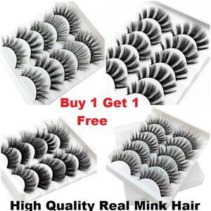 5Pairs 3D Mink False Eyelashes Long Natural Thick Fake Eye Wispy Lashes Makeup